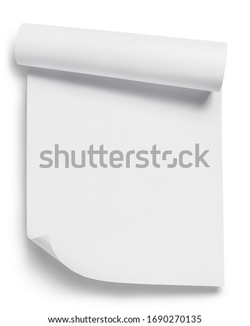 Curled white paper, isolated on white background ストックフォト ©