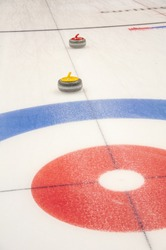 curling game in curling arena