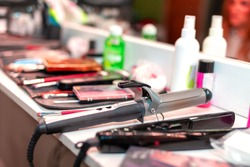 curling iron and other hair tools, selective focus, shallow depth of field