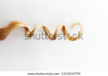 Curls curled on the Curling iron, isolated on white background. one strand of blonde or red hair, hair care, concept