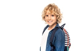 curly blonde schoolkid with backpack looking at camera isolated on white