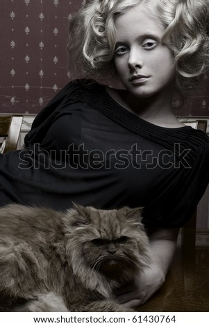 curly girl with cat