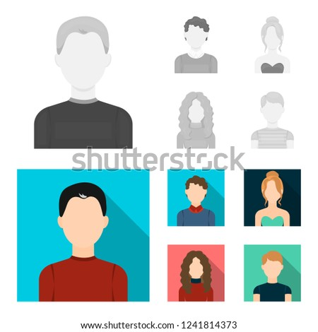 Curly-haired boy, blond, red-haired, teenager.Avatar set collection icons in monochrome,flat style bitmap symbol stock illustration web.
