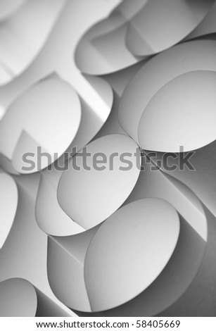 Curly paper sheets abstract