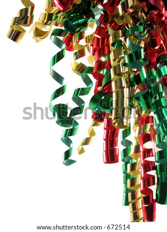 Curly ribbon in Christmas colors