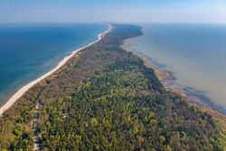 Curonian Spit from above, aerial view of the national park located between the sea and the lagoon