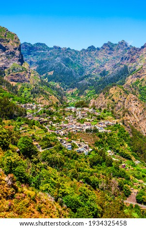 Curral das Freiras or Valley of the Nuns village in Madeira Island, Portugal Stock foto ©
