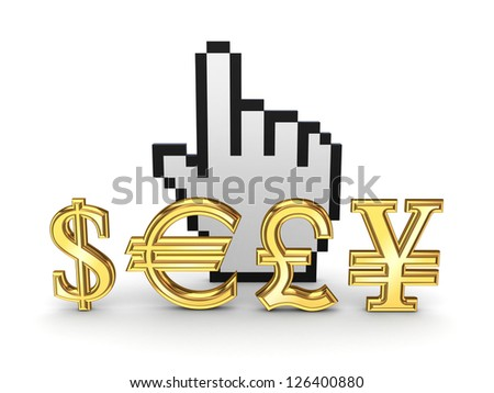 Currencies symbols and cursor.Isolated on white background.3d rendered.