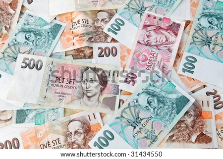 Currency and banknotes from the Czech Republic in Europe