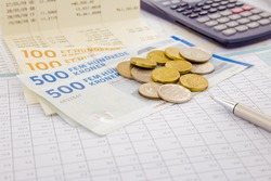 currency and paper money of Denmark, saving account and investment concept