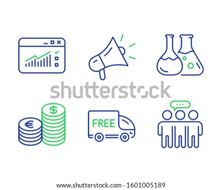 Currency, Chemistry lab and Free delivery line icons set. Megaphone, Web traffic and Employees group signs. Euro and usd, Laboratory, Shopping truck. Brand advertisement. Business set.