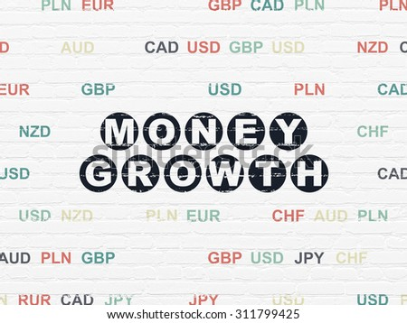 Currency concept: Painted black text Money Growth on White Brick wall background with Currency