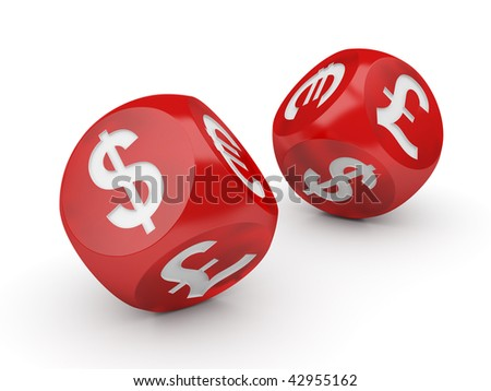 Currency Dice Isolated Series (Flying dices with a currencies signs on the sides)