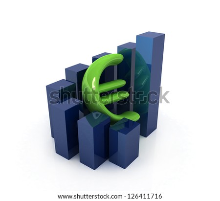 Currency euro business graph on white background