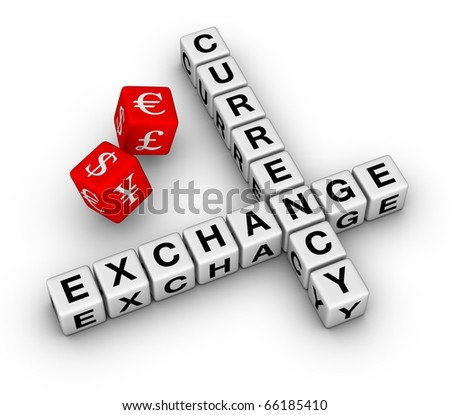 currency exchange crossword and red dice