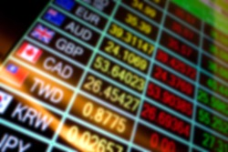 currency exchange rate display blur background