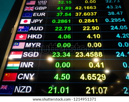 Currency exchange rate on digital display monitor at Bank