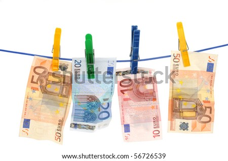 Currency on a laundry line