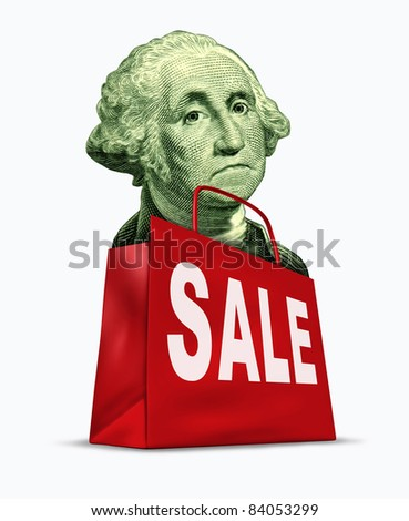 Currency on sale by the devaluation of the dollar in relation to the world recession  and U.S. economy represented by a vintage character of George Washington in a shopping bag showing bargain prices.