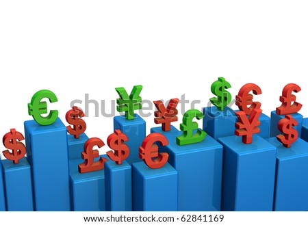 Currency rate concept symbol with green and red color on bar chart 3d illustration