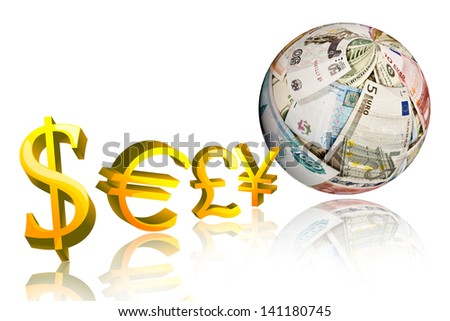 currency symbol: dollar,pound,euro,y en, with sphere shape money on white background - stock photo