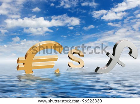 Currency symbols floating on blue sea waves