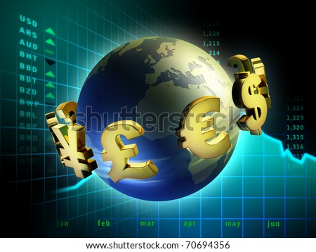 Currency symbols moving around planet Earth. Digital illustration.