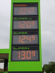 Current gasoline price (in euro currency) on July 9, 2020 in Hanover, Germany.