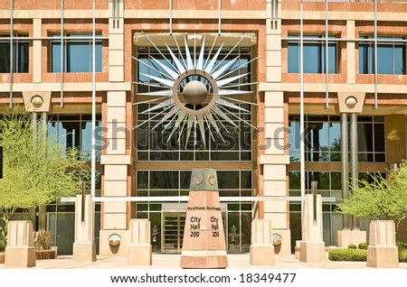Current Phoenix Arizona City Hall in Downtown showing the starburst symbol.