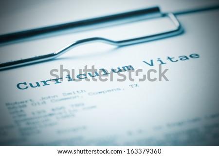 Curriculum vitae Blue toned image