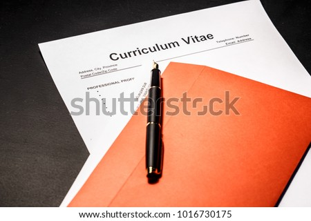 Curriculum vitae cv as concept for job search. A photograph can illustrate an article on how to properly fill out a resume when hiring. #1016730175