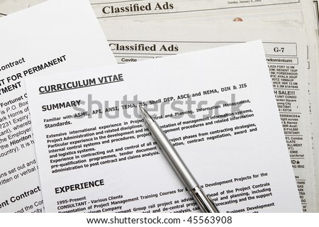 Curriculum vitae with employment contract found on classified ads.
