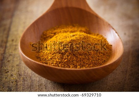 Curry in a wooden spoon
