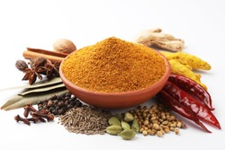 Curry Masala Powder with ingredients, this is a common spice ,curry powder  in Indian kitchen