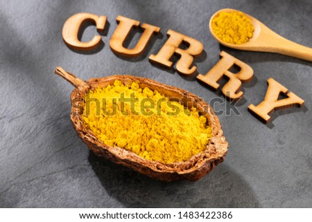 Curry powder in a bowl - Text space #1483422386