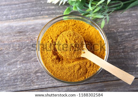 Curry powder in a glass bowl