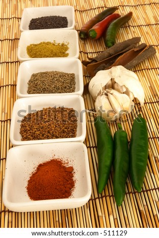 Curry spices on a bamboo mat