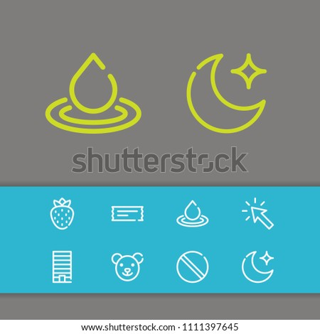 Cursor icon with moon, forbidden and water symbols. Set of berry, bear, apartment icons and metropolis concept. Editable  elements for logo app UI design.