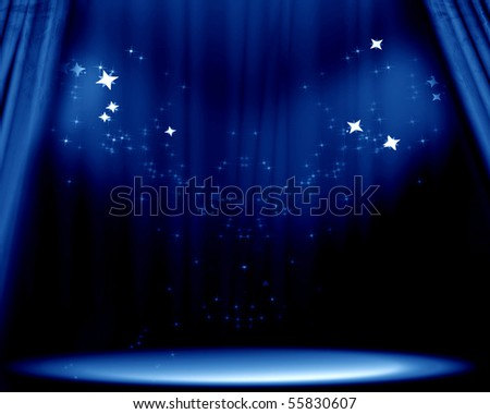 Curtain background with spotlights and bright glitters