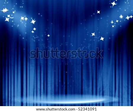 Curtain background with spotlights and glitters on it