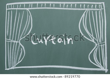 Curtain drawn on the blackboard - stock photo