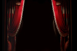 Curtain on stage with space for copy
