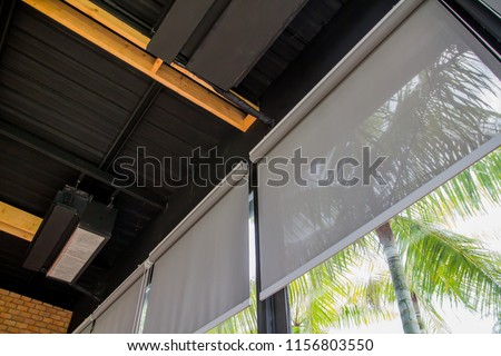 curtain or blinds Roller sun protection and big Glass windows. #1156803550