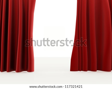 Curtain red on white background
