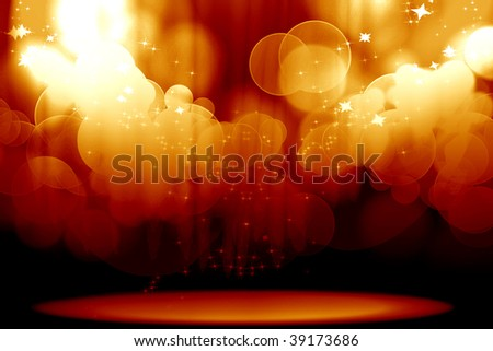Curtain with spotlights on a red background