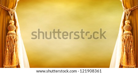 curtain yellow gold on retro background