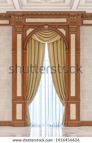 Curtains in a carved niche made of wood in a classic style without a windowsill. 3d rendering
