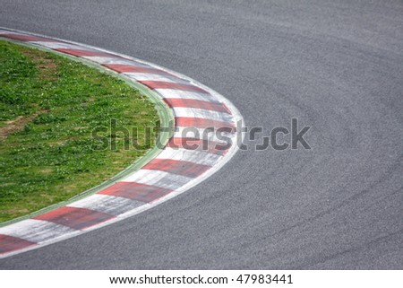 Curve of Catalunya circuit. - stock photo