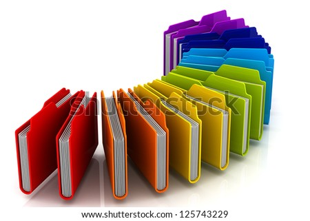 Curve of 3d colorfull folders