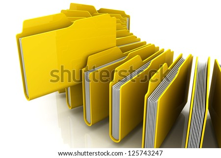 Curve of 3d Yellow folders